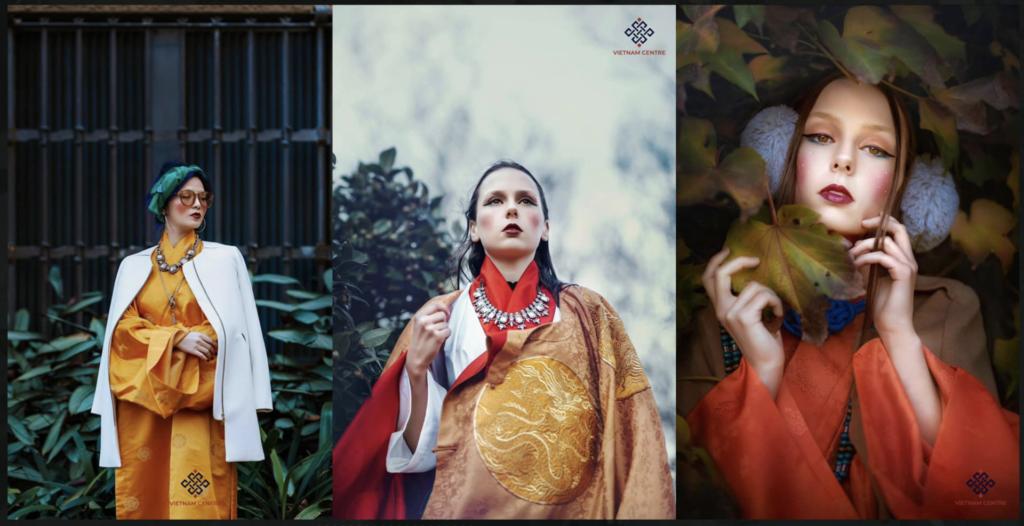 Các thiếu nữ da trắng trong trang phục được thiết kế dựa trên chất liệu Việt. Nguồn ảnh: Vietnam Centre